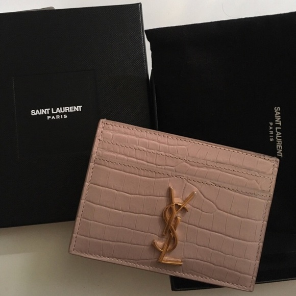 new product f81d2 97462 Ysl nude pink croc leather ysl card holder/wallet